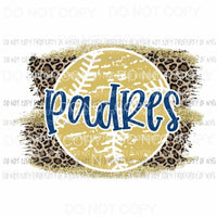 Padres baseball leopard Sublimation transfers Heat Transfer