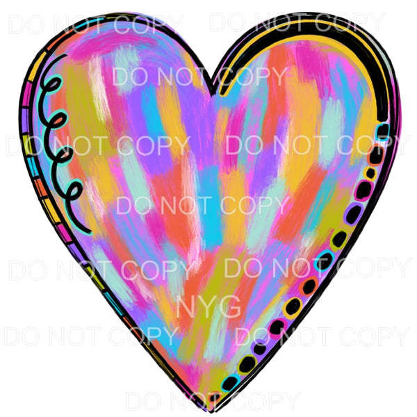 Painted Heart Sublimation transfers - Heat Transfer