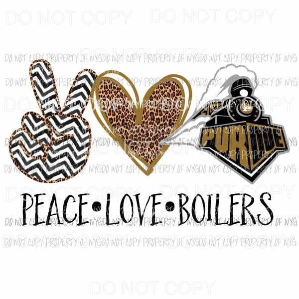 Peace Love Boilers Purdue Sublimation transfers Heat Transfer