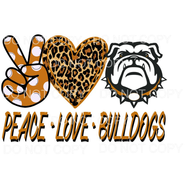 Peace Love Bulldogs ORANGE & BLACK Sublimation transfers -