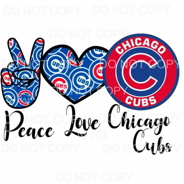 Peace Love Chicago Cubs Baseball Sublimation transfers -