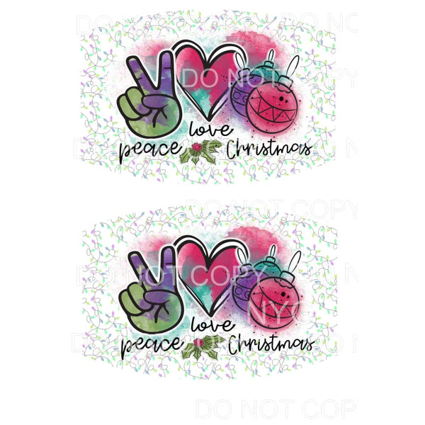 Peace Love Christmas FACE MASK Sublimation transfers - Face