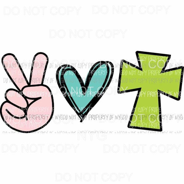 Peace Love Cross Easter Sublimation transfers Heat Transfer