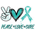 PEACE LOVE CURE TEAL # 2 Sublimation transfers - Heat