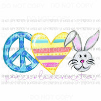 Peace Love Easter #1 purple writing Sublimation transfers Heat Transfer