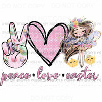 Peace Love Easter pink heart girl chicks Sublimation transfers Heat Transfer