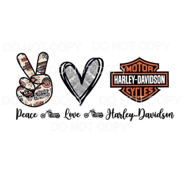 Peace Love Harley Davidson Motorcycle Sublimation transfers