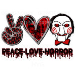 Peace Love Horror #5 Billy The Puppet Sublimation transfers