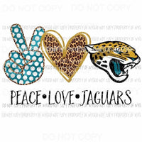 Peace Love Jaguars Jacksonville Sublimation transfers Heat Transfer