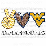 Peace Love Mountaineers WV West Virginia Sublimation transfers Heat Transfer