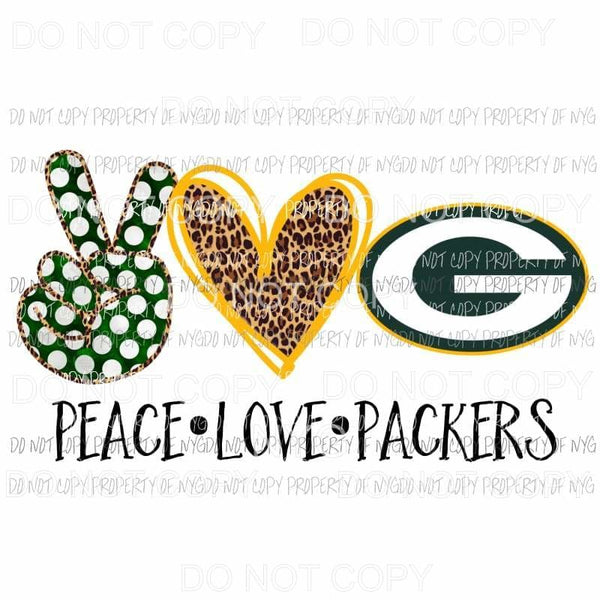 Peace Love Cowboys Packers Green Bay Sublimation transfers Heat Transfer