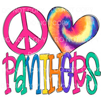 Peace Love Panthers Tie Dye Sublimation transfers - Heat