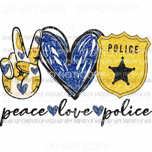 Peace Love Police badge blue heart Sublimation transfers Heat Transfer