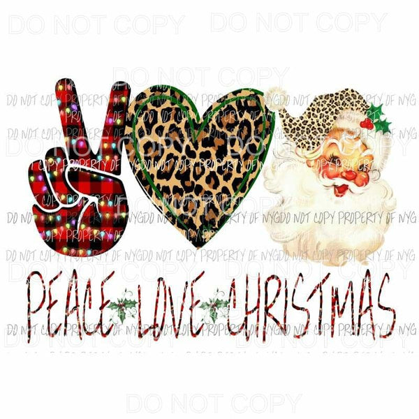 Peace love Santa 1 Sublimation transfers Heat Transfer