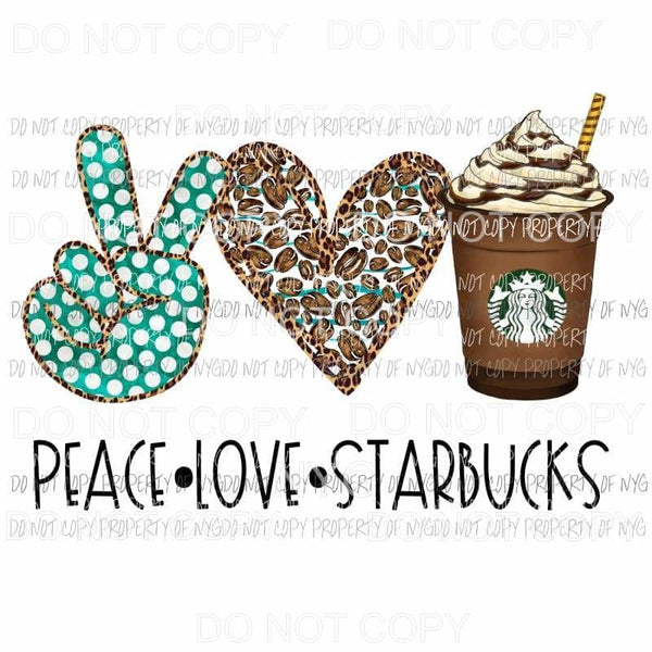 Peace Love Starbucks #2 leopard heart cup with straw Sublimation transfers Heat Transfer