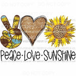 Peace Love Sunshine sunflower Sublimation transfers Heat Transfer