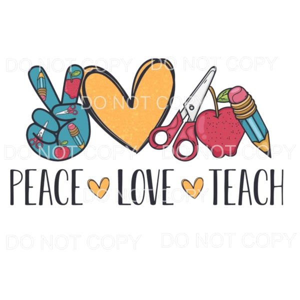 Peace Love Teach Apple Pencil Scissors Sublimation transfers