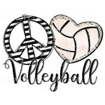 Peace Love Volleyball Heart Sublimation transfers - Heat
