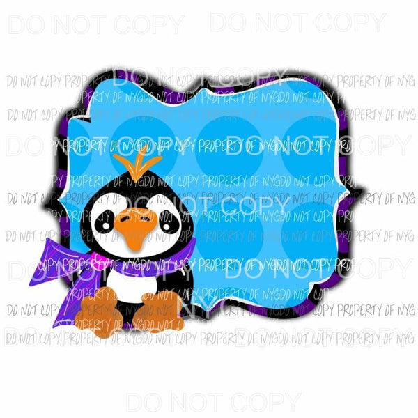 Penguin frame blue polka dots background Sublimation transfers Heat Transfer