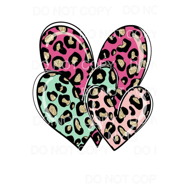 Pink Blue Gold Leopard Heart Trio Sublimation transfers -