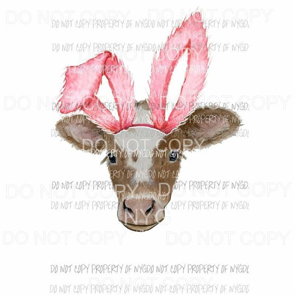 Pink ear cow bunny Sublimation transfers Heat Transfer