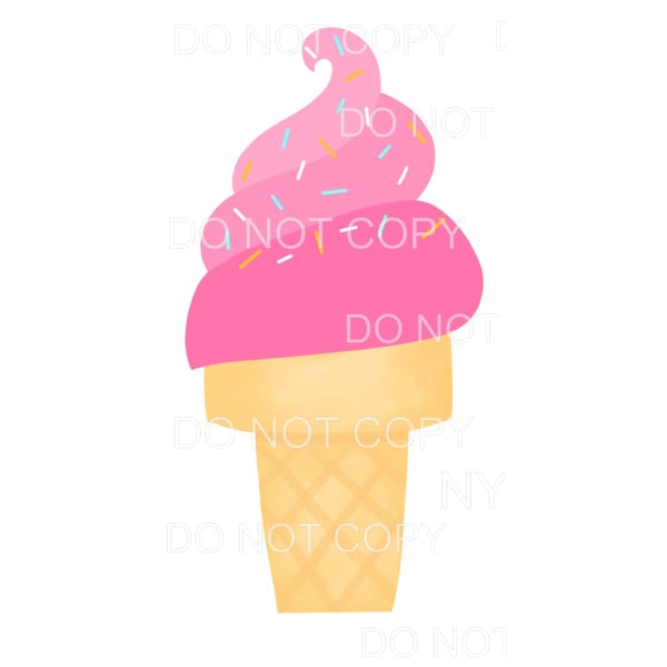Pink Ice Cream Cone Sprinkles Sublimation transfers - Heat