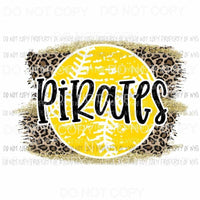 Pirates baseball leopard Sublimation transfers Heat Transfer