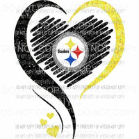 Pittsburgh Steelers heart black yellow glitter Sublimation transfers Heat Transfer