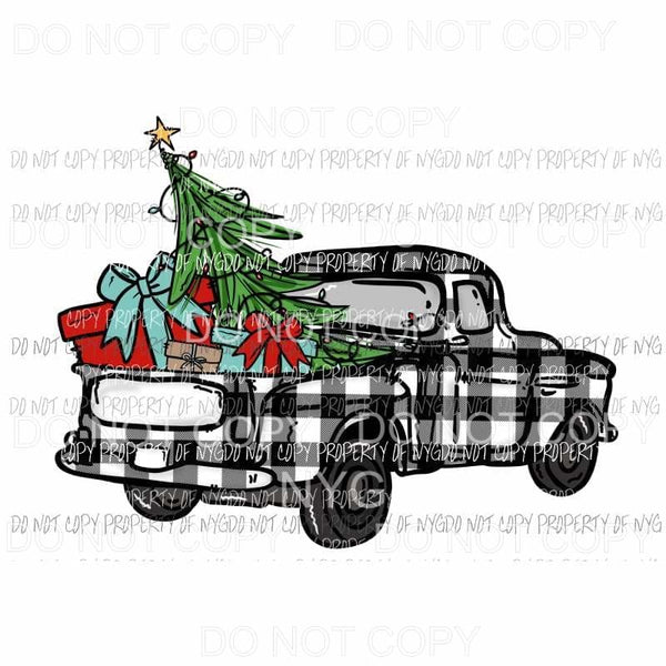 Plaid black and white Christmas truck Sublimation transfers Heat Transfer