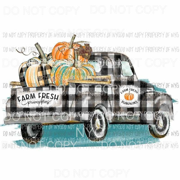 Plaid Black and white farm truck Pumpkins fall Sublimation transfers Heat Transfer