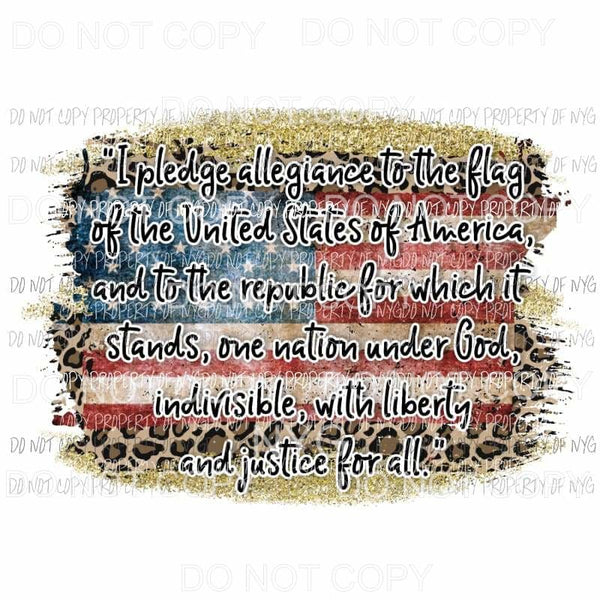Pledge Of Allegiance leopard flag Sublimation transfers Heat Transfer