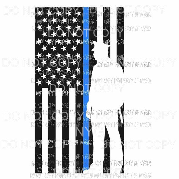 Police Thin Blue line flag silhouette Sublimation transfers Heat Transfer