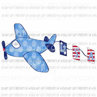 Polka Dot Blue Airplane USA red white blue Sublimation transfers Heat Transfer