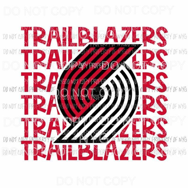 Portland Trail Blazers stacked Sublimation transfers Heat Transfer