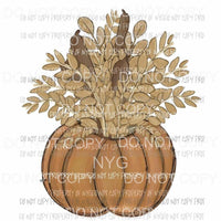 Pumpkin filled with cattails and leaves Sublimation transfers Heat Transfer