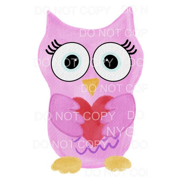 Purple Pink Valentine Owl Sublimation transfers - Heat