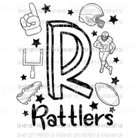 Rattlers football spirit doodle Sublimation transfers Heat Transfer