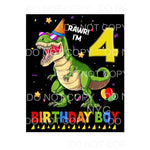 Rawr I'm 4 Birthday Boy Dinosaur Sublimation transfers -