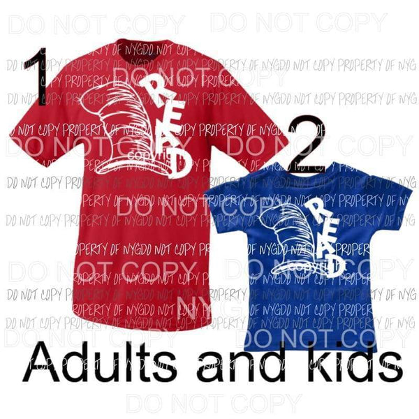 READ Dr Seuss adult and child IN DROP DOWN MENU Screen print transfers Heat Transfer