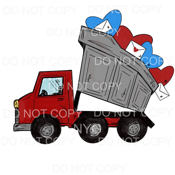 Red Dump Truck Hearts Sublimation transfers - Heat Transfer