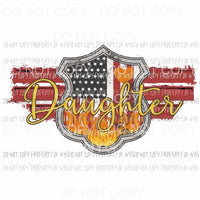 Red Line Badge Daughter firefighter Sublimation transfers Heat Transfer