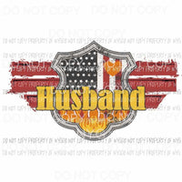 Red Line Badge Husband firefighter Sublimation transfers Heat Transfer