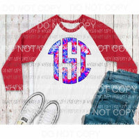 Red white and Blue Tie 4th of July monogram letters put letters in notes please Sublimation transfers Heat Transfer