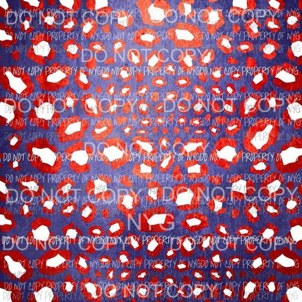 Red White Blue Leopard Sheet #2 Sublimation transfers 13 x 9 inches Heat Transfer