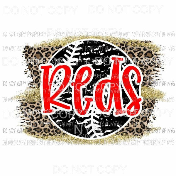 Reds baseball leopard Sublimation transfers Heat Transfer