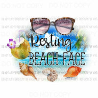 Resting Beach Face #2 sunglasses coconut seashells Sublimation transfers Heat Transfer