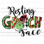 Resting Grinch Face Christmas movie Sublimation transfers Heat Transfer