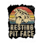 Resting Pit Face Retro Pitbull Dog Sublimation transfers -