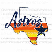 Retro Houston Astros state Sublimation transfers Heat Transfer