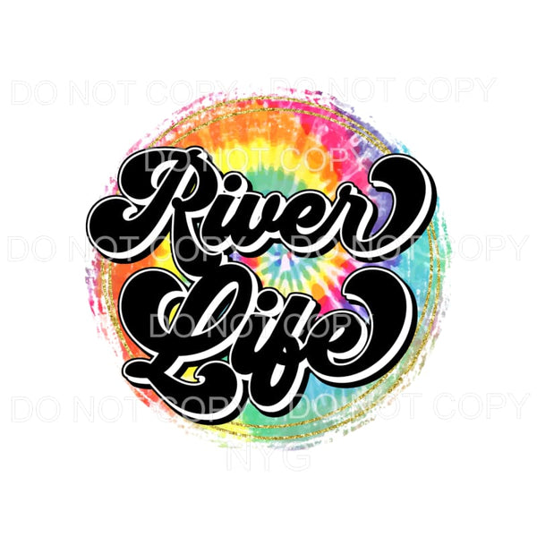 River Life Tie Dye Circle Sublimation transfers - Heat